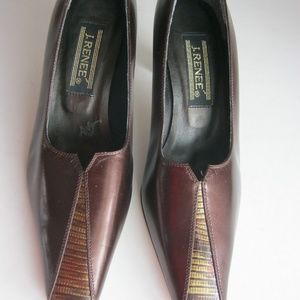 J Renee Women Brown Leather Heels Size 7M -EUC